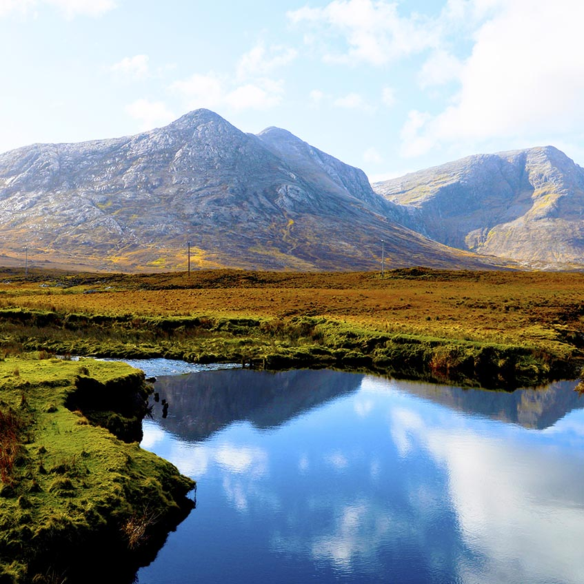 Co Galway, Connemara, Ireland. March 2015 - The Twelve Pins Mountains
